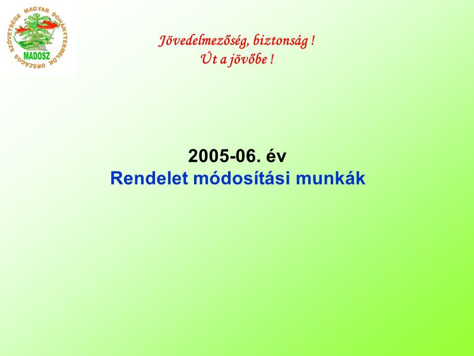 2005-06. év Rendelet módosítási munkák Jövedelmezőség, biztonság ! Út a jövőbe !