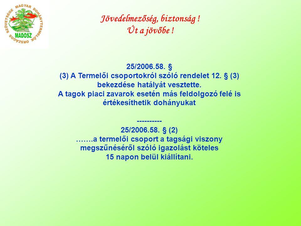 25/2006.58. § (3) A Termelői csoportokról szóló rendelet 12.