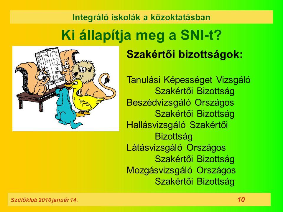 Ki állapítja meg a SNI-t? Szülőklub 2010 január 14. 10 Integráló iskolák a közoktatásban Szakértői bizottságok: Tanulási Képességet Vizsgáló Szakértői
