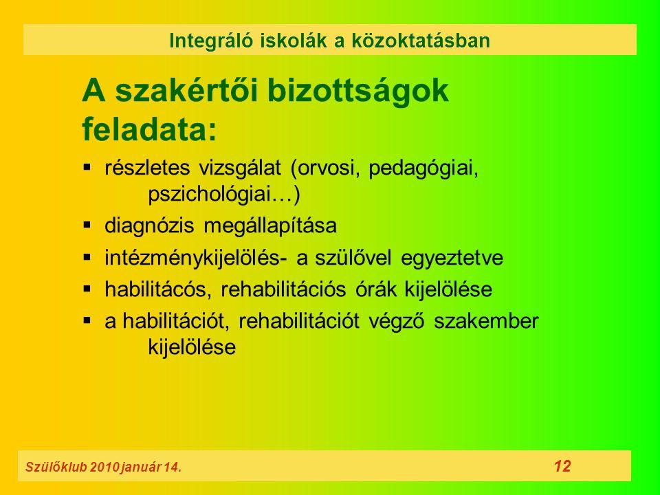 A szakértői bizottságok feladata:  részletes vizsgálat (orvosi, pedagógiai, pszichológiai…)  diagnózis megállapítása  intézménykijelölés- a szülőve