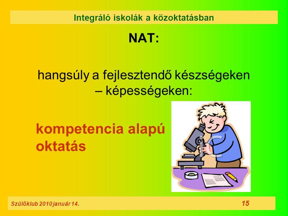NAT: hangsúly a fejlesztendő készségeken – képességeken: kompetencia alapú oktatás Szülőklub 2010 január 14. 15 Integráló iskolák a közoktatásban