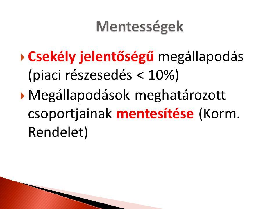  Csekély jelentőségű megállapodás (piaci részesedés < 10%)  Megállapodások meghatározott csoportjainak mentesítése (Korm. Rendelet)