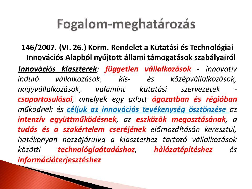 146/2007. (VI. 26.) Korm. Rendelet a Kutatási és Technológiai Innovációs Alapból nyújtott állami támogatások szabályairól Innovációs klaszterek: függe