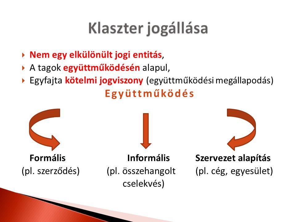  Nem egy elkülönült jogi entitás,  A tagok együttműködésén alapul,  Egyfajta kötelmi jogviszony (együttműködési megállapodás) Együttműködés Formáli