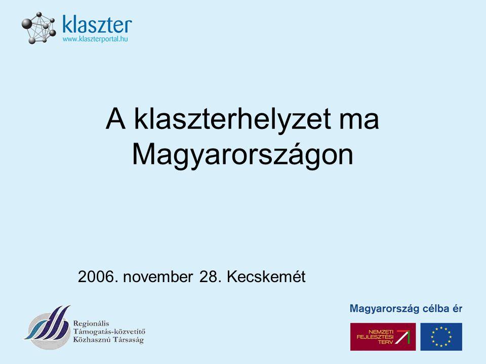 A klaszterhelyzet ma Magyarországon 2006. november 28. Kecskemét