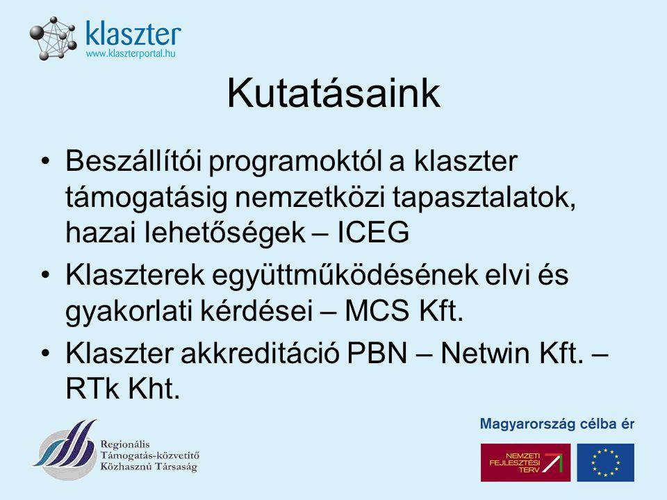 Kutatásaink Beszállítói programoktól a klaszter támogatásig nemzetközi tapasztalatok, hazai lehetőségek – ICEG Klaszterek együttműködésének elvi és gyakorlati kérdései – MCS Kft.