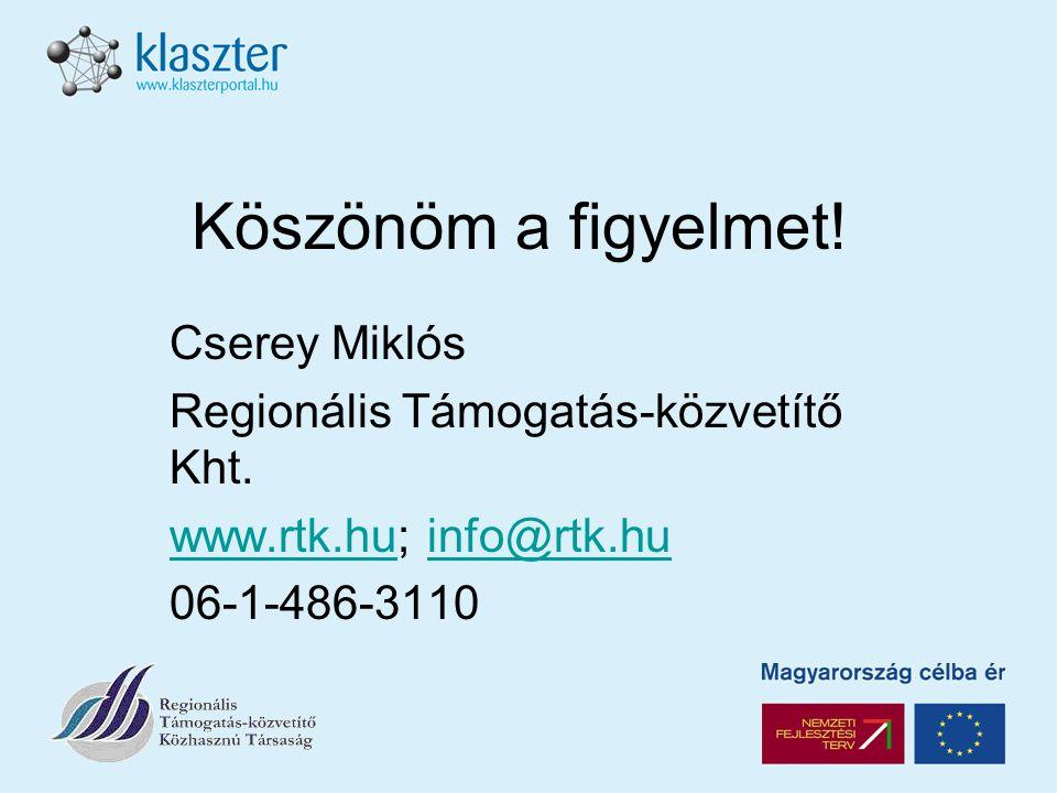 Köszönöm a figyelmet. Cserey Miklós Regionális Támogatás-közvetítő Kht.