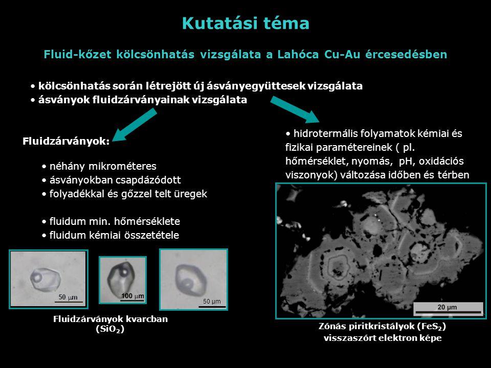 Kutatási téma Fluid-kőzet kölcsönhatás vizsgálata a Lahóca Cu-Au ércesedésben kölcsönhatás során létrejött új ásványegyüttesek vizsgálata ásványok fluidzárványainak vizsgálata hidrotermális folyamatok kémiai és fizikai paramétereinek ( pl.