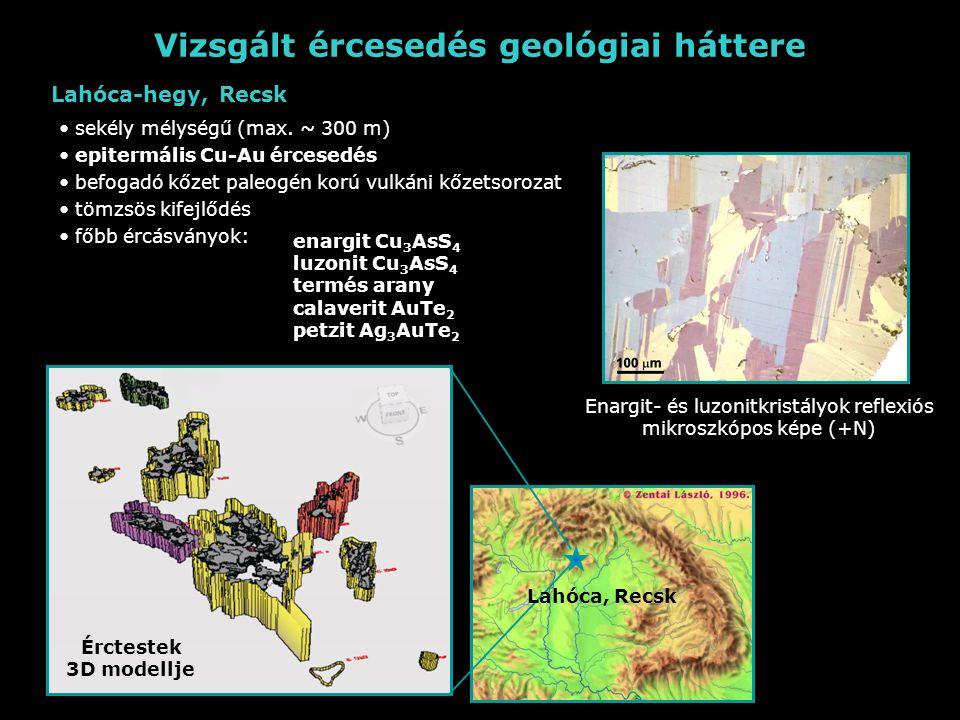 Vizsgált ércesedés geológiai háttere Enargit- és luzonitkristályok reflexiós mikroszkópos képe (+N) sekély mélységű (max.