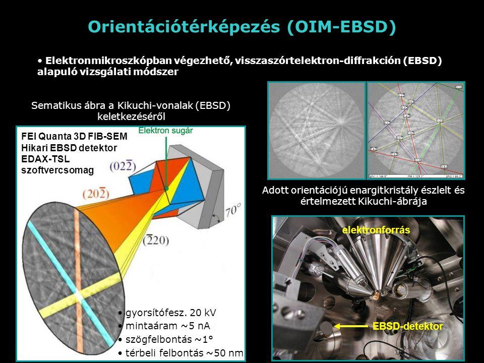 Orientációtérképezés (OIM-EBSD) Elektronmikroszkópban végezhető, visszaszórtelektron-diffrakción (EBSD) alapuló vizsgálati módszer Sematikus ábra a Kikuchi-vonalak (EBSD) keletkezéséről Adott orientációjú enargitkristály észlelt és értelmezett Kikuchi-ábrája gyorsítófesz.