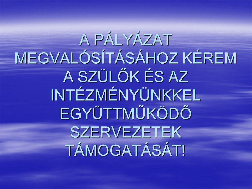 A PÁLYÁZAT MEGVALÓSÍTÁSÁHOZ KÉREM A SZÜLŐK ÉS AZ INTÉZMÉNYÜNKKEL EGYÜTTMŰKÖDŐ SZERVEZETEK TÁMOGATÁSÁT!