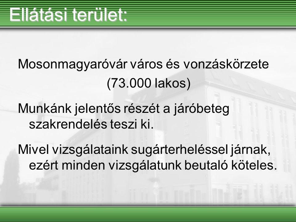 Ellátási terület: Mosonmagyaróvár város és vonzáskörzete (73.000 lakos) Munkánk jelentős részét a járóbeteg szakrendelés teszi ki. Mivel vizsgálataink