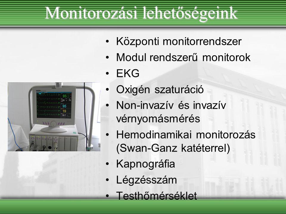 Monitorozási lehetőségeink Központi monitorrendszer Modul rendszerű monitorok EKG Oxigén szaturáció Non-invazív és invazív vérnyomásmérés Hemodinamika