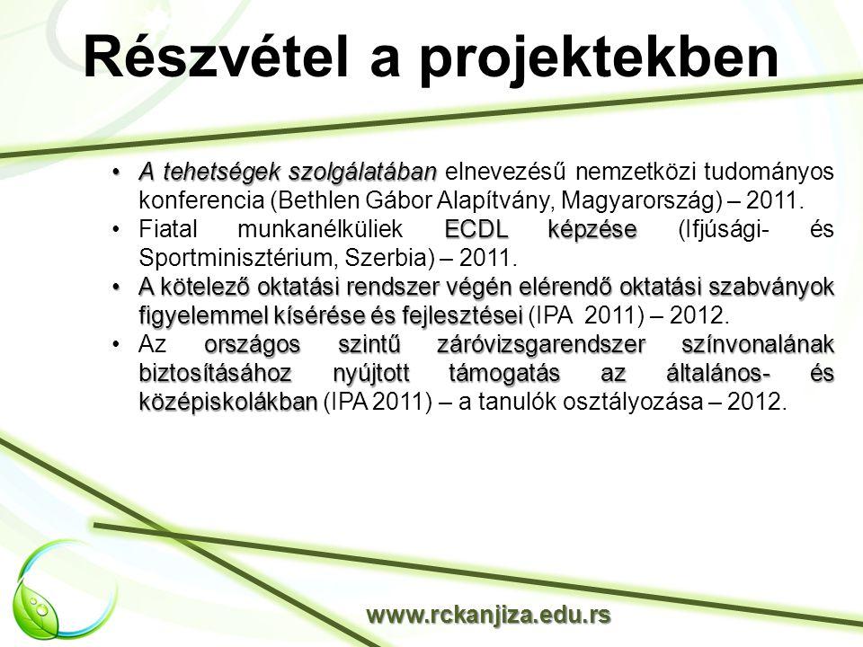 Részvétel a projektekben www.rckanjiza.edu.rs A tehetségek szolgálatábanA tehetségek szolgálatában elnevezésű nemzetközi tudományos konferencia (Bethlen Gábor Alapítvány, Magyarország) – 2011.