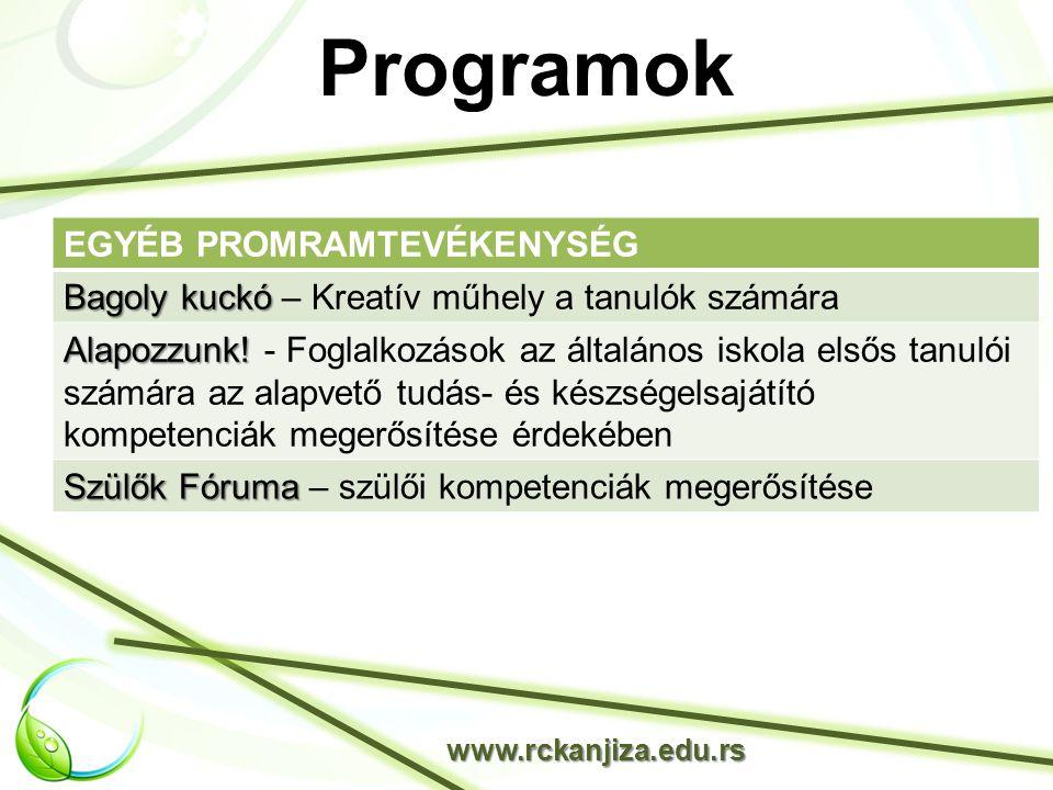Programok www.rckanjiza.edu.rs EGYÉB PROMRAMTEVÉKENYSÉG Bagoly kuckó Bagoly kuckó – Kreatív műhely a tanulók számára Alapozzunk.
