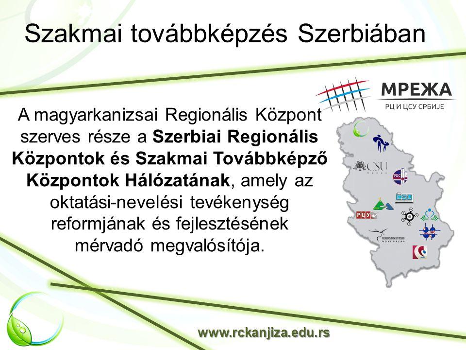 Szakmai továbbképzés Szerbiában www.rckanjiza.edu.rs A magyarkanizsai Regionális Központ szerves része a Szerbiai Regionális Központok és Szakmai Továbbképző Központok Hálózatának, amely az oktatási-nevelési tevékenység reformjának és fejlesztésének mérvadó megvalósítója.