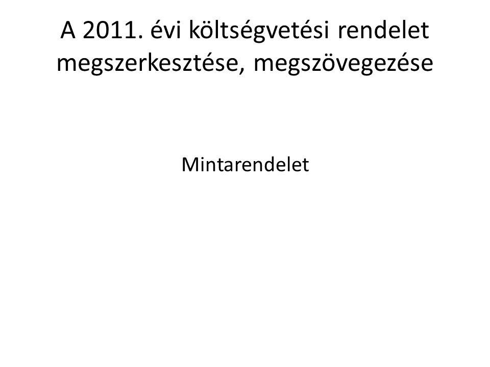 A 2011. évi költségvetési rendelet megszerkesztése, megszövegezése Mintarendelet