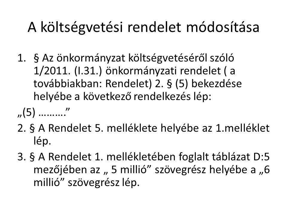 A költségvetési rendelet módosítása 1.§ Az önkormányzat költségvetéséről szóló 1/2011.