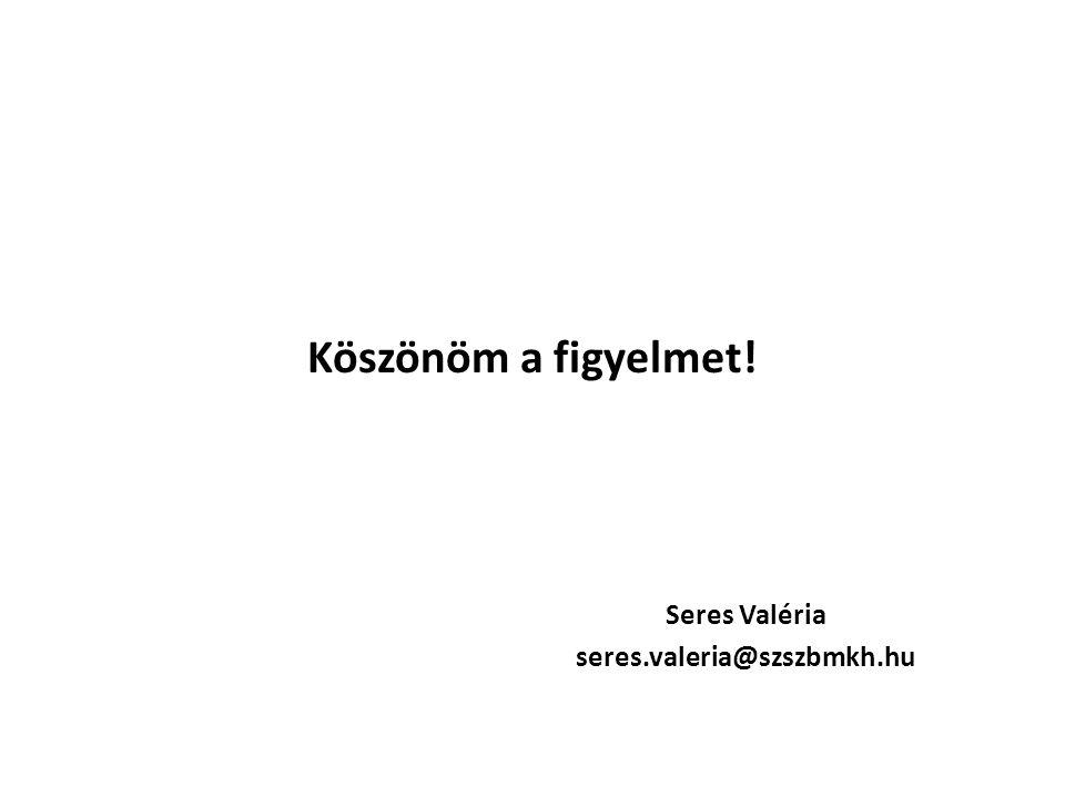 Köszönöm a figyelmet! Seres Valéria seres.valeria@szszbmkh.hu