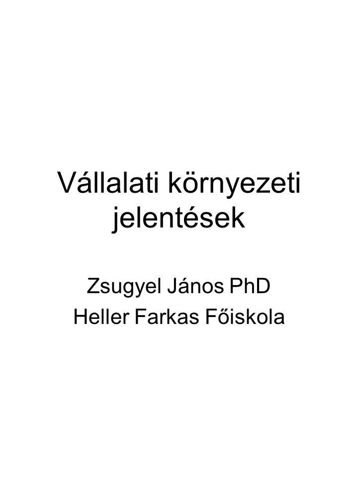 Vállalati környezeti jelentések Zsugyel János PhD Heller Farkas Főiskola