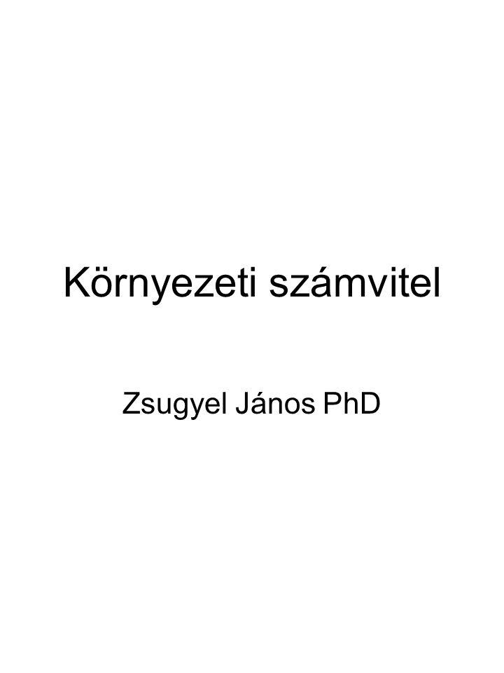 Környezeti számvitel Zsugyel János PhD