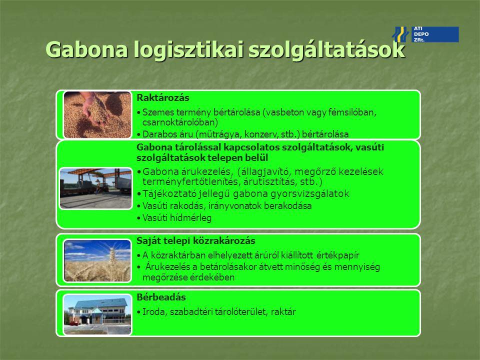 Bajai depó bemutatása Rakodások kapacitási adatai: Ömlesztett áru siló-hajó: 150 t/óra Közútról-raktárba: 100 t/óra Közút-vasút: 1 irányvonat/nap Szolg á ltat á sok (egyedi) kik ö tői szolg á ltat á sok ( egyszerre négy hajót is ki tud szolgálni) kont é ner dep ó z á s t ú ls ú lyos é s t ú l m é retes á ruk kezel é se 40 tonn á s h í ddaruval Tárolás kapacitási adatai: Siló: 33.500 t (nagy tömegű ömlesztett áru pl.