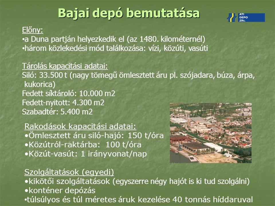 Bajai depó bemutatása Rakodások kapacitási adatai: Ömlesztett áru siló-hajó: 150 t/óra Közútról-raktárba: 100 t/óra Közút-vasút: 1 irányvonat/nap Szol