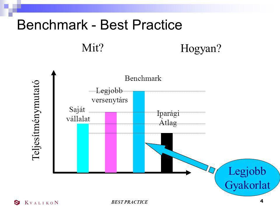 BEST PRACTICE 3 Benchmarking Idő Teljesítmény Benchmark vállalat jelen jövő teljesítményrés Saját vállalatunk