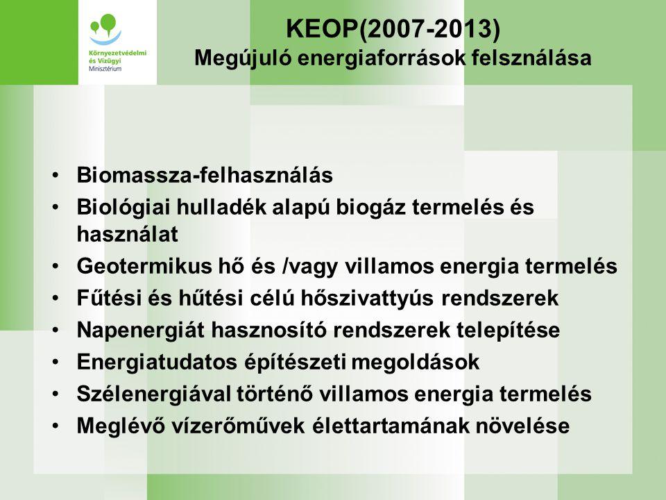 KEOP(2007-2013) Megújuló energiaforrások felsználása Biomassza-felhasználás Biológiai hulladék alapú biogáz termelés és használat Geotermikus hő és /vagy villamos energia termelés Fűtési és hűtési célú hőszivattyús rendszerek Napenergiát hasznosító rendszerek telepítése Energiatudatos építészeti megoldások Szélenergiával történő villamos energia termelés Meglévő vízerőművek élettartamának növelése