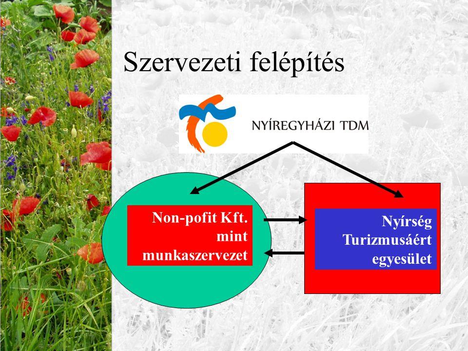 Szervezeti felépítés Nyírség Turizmusáért egyesület Non-pofit Kft. mint munkaszervezet