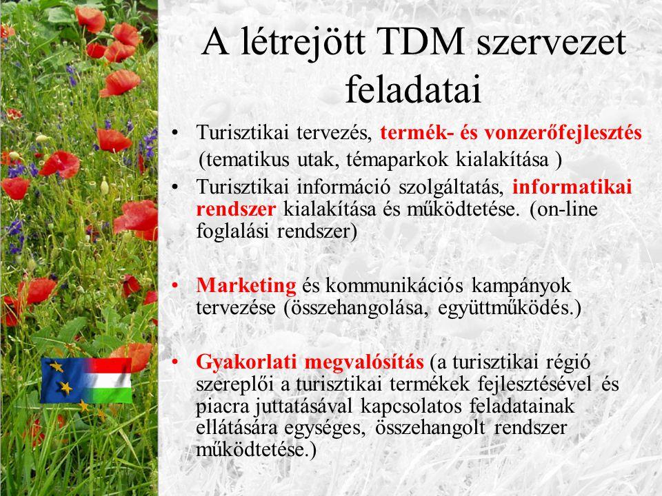 A létrejött TDM szervezet feladatai Turisztikai tervezés, termék- és vonzerőfejlesztés (tematikus utak, témaparkok kialakítása ) Turisztikai informáci