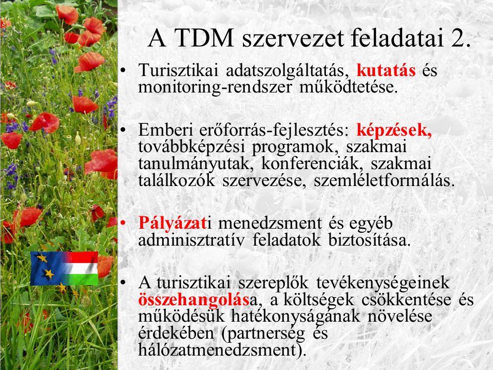 A TDM szervezet feladatai 2. Turisztikai adatszolgáltatás, kutatás és monitoring-rendszer működtetése. Emberi erőforrás-fejlesztés: képzések, továbbké