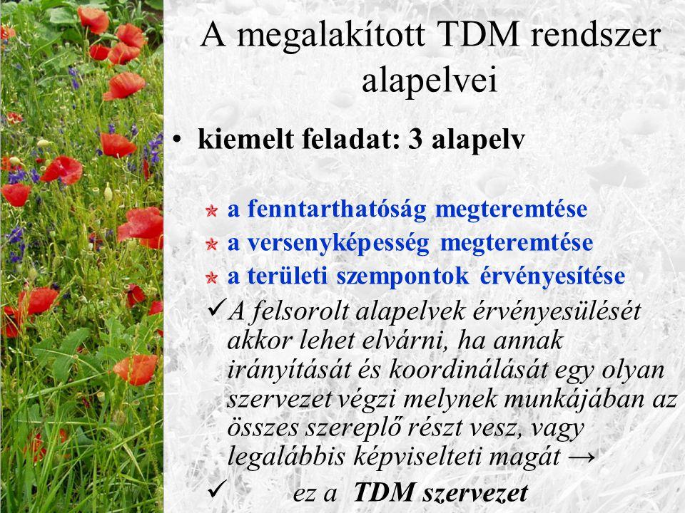 A megalakított TDM rendszer alapelvei kiemelt feladat: 3 alapelv a fenntarthatóság megteremtése a versenyképesség megteremtése a területi szempontok é