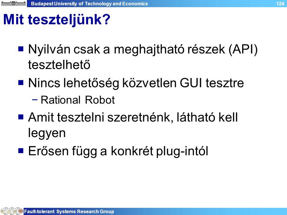 Budapest University of Technology and Economics Fault-tolerant Systems Research Group 124 Mit teszteljünk.