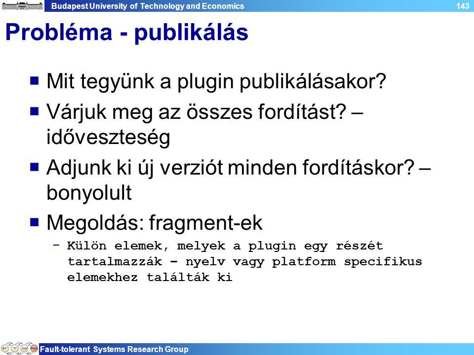 Budapest University of Technology and Economics Fault-tolerant Systems Research Group 143 Probléma - publikálás  Mit tegyünk a plugin publikálásakor.