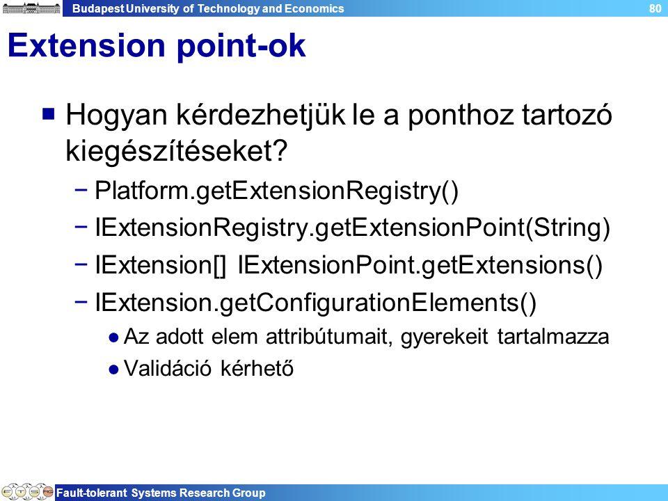 Budapest University of Technology and Economics Fault-tolerant Systems Research Group 80 Extension point-ok  Hogyan kérdezhetjük le a ponthoz tartozó kiegészítéseket.