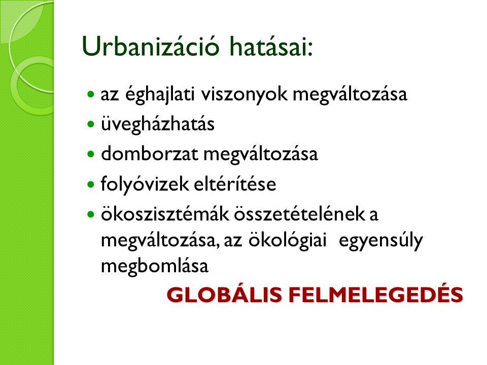 Urbanizáció hatásai: az éghajlati viszonyok megváltozása üvegházhatás domborzat megváltozása folyóvizek eltérítése ökoszisztémák összetételének a megváltozása, az ökológiai egyensúly megbomlása GLOBÁLIS FELMELEGEDÉS