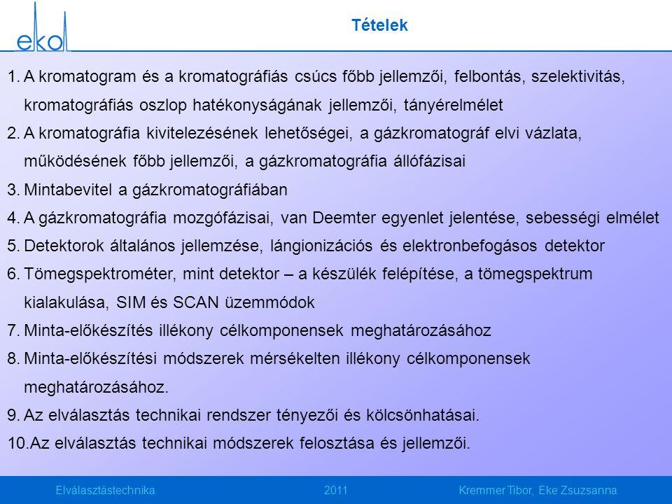 Elválasztástechnika2011Kremmer Tibor, Eke Zsuzsanna Tételek 1.A kromatogram és a kromatográfiás csúcs főbb jellemzői, felbontás, szelektivitás, kromat