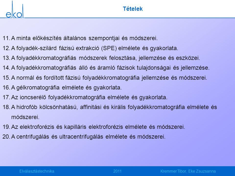 Elválasztástechnika2011Kremmer Tibor, Eke Zsuzsanna Tételek 11.A minta előkészítés általános szempontjai és módszerei. 12.A folyadék-szilárd fázisú ex