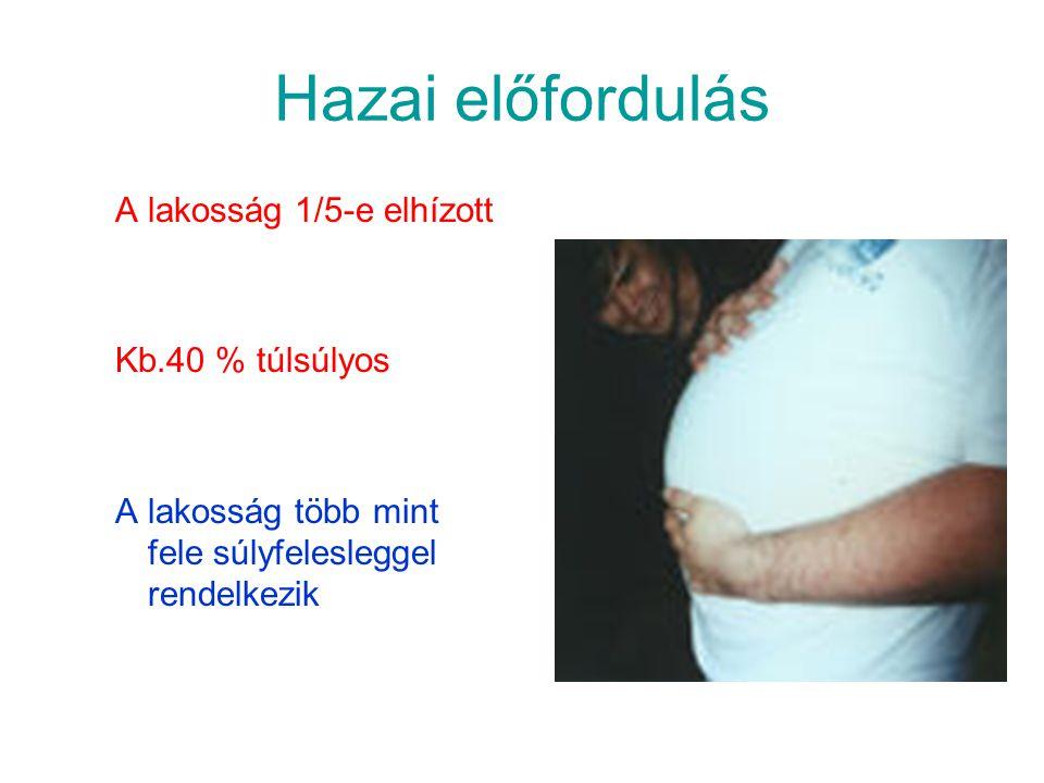 Hazai előfordulás A lakosság 1/5-e elhízott Kb.40 % túlsúlyos A lakosság több mint fele súlyfelesleggel rendelkezik