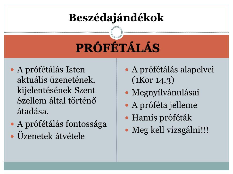 PRÓFÉTÁLÁS A prófétálás Isten aktuális üzenetének, kijelentésének Szent Szellem által történő átadása.