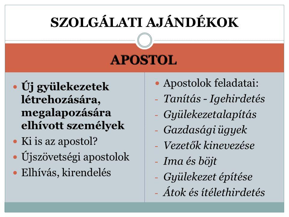 APOSTOL Új gyülekezetek létrehozására, megalapozására elhívott személyek Ki is az apostol.
