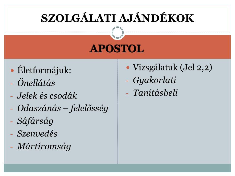 APOSTOL Életformájuk: - Önellátás - Jelek és csodák - Odaszánás – felelősség - Sáfárság - Szenvedés - Mártíromság Vizsgálatuk (Jel 2,2) - Gyakorlati - Tanításbeli SZOLGÁLATI AJÁNDÉKOK