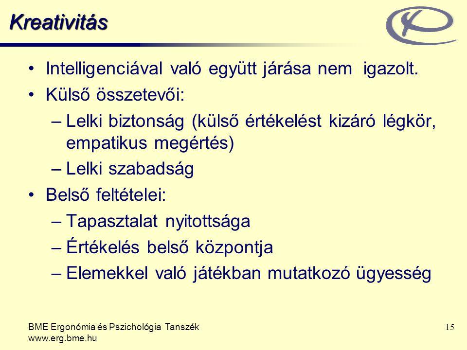BME Ergonómia és Pszichológia Tanszék www.erg.bme.hu 15 Kreativitás Intelligenciával való együtt járása nem igazolt.