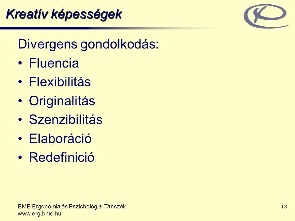 BME Ergonómia és Pszichológia Tanszék www.erg.bme.hu 18 Kreatív képességek Divergens gondolkodás: Fluencia Flexibilitás Originalitás Szenzibilitás Elaboráció Redefinició