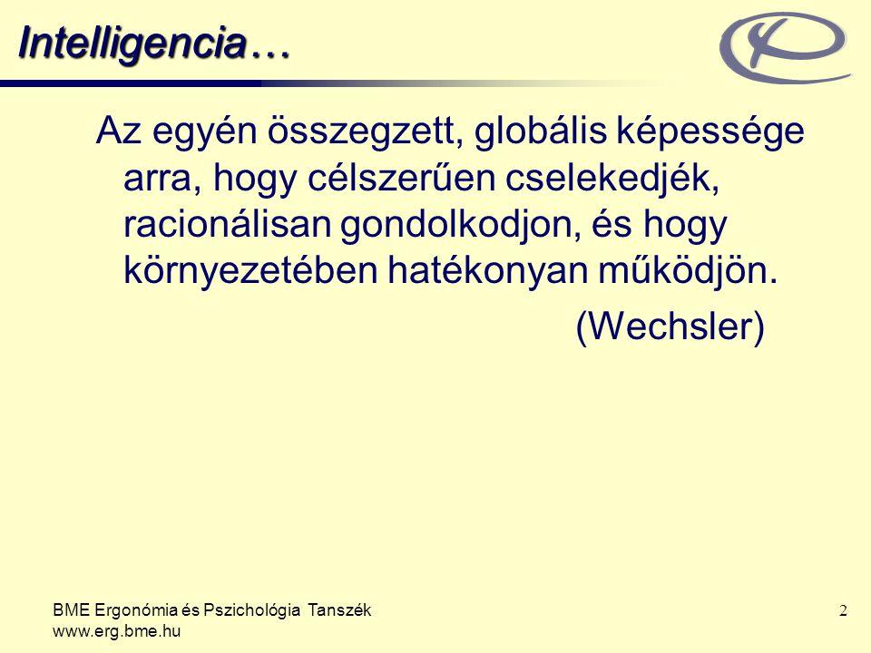 BME Ergonómia és Pszichológia Tanszék www.erg.bme.hu 13 Genetikai és környezeti tényezők Táplálkozás Egészségi állapot Az egyént érő ingerek milyensége Emocionális klíma Visszajelzések Kiegyenlítő programok