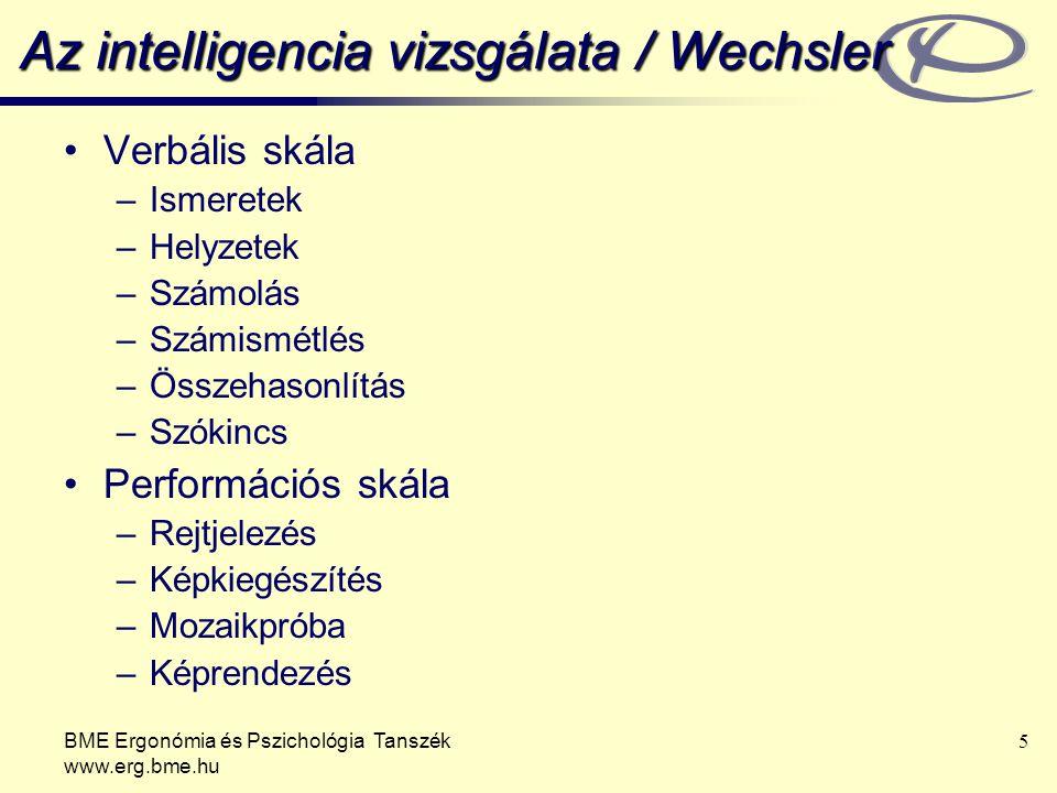 BME Ergonómia és Pszichológia Tanszék www.erg.bme.hu 6 Az intelligencia természete 1.