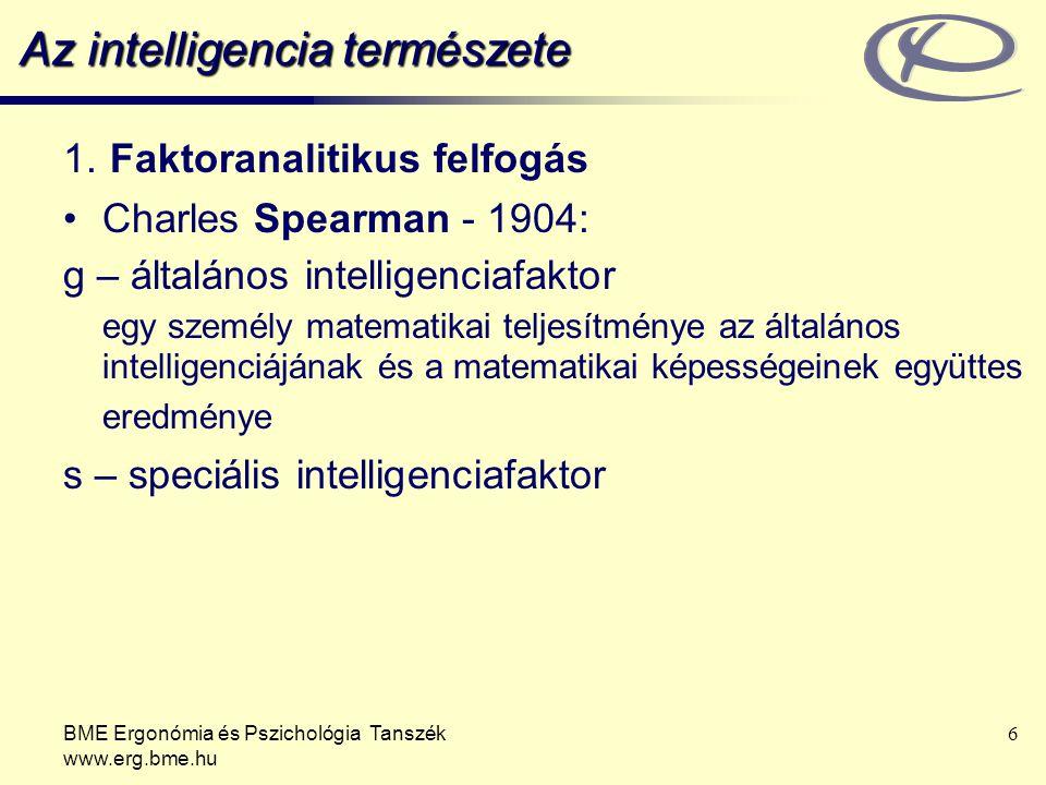 BME Ergonómia és Pszichológia Tanszék www.erg.bme.hu 7 Az intelligencia természete 1.