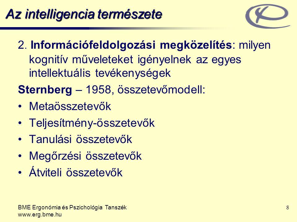BME Ergonómia és Pszichológia Tanszék www.erg.bme.hu 8 Az intelligencia természete 2.
