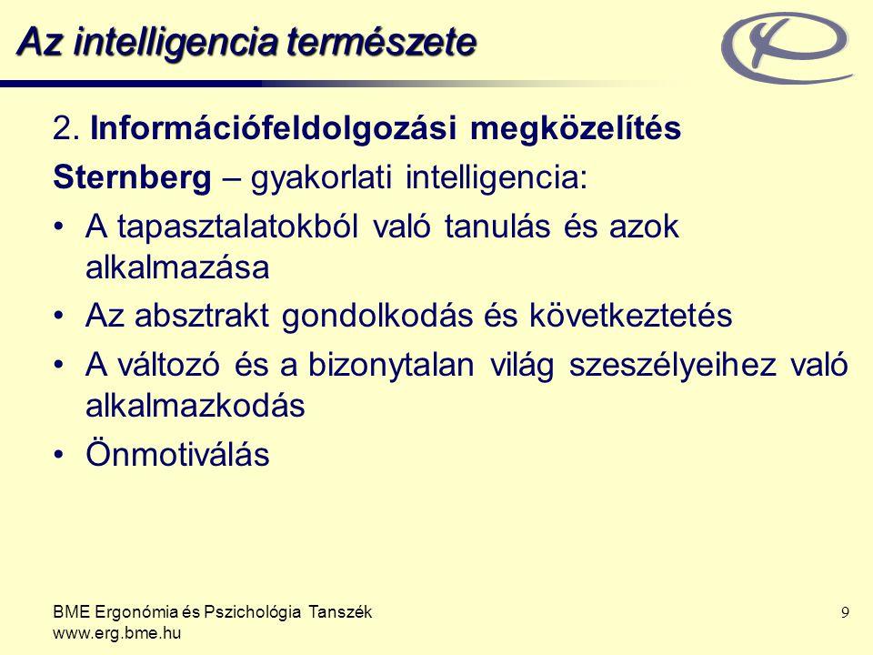 BME Ergonómia és Pszichológia Tanszék www.erg.bme.hu 9 Az intelligencia természete 2.